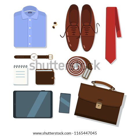 Business man or office worker accessories and formal clothes set. Tie, briefcase, shirt, shoes, belt, cufflinks, watch, wallet, notepad, tablet computer, phone. Flat style vector illustration