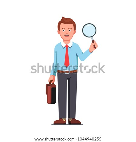 Business man or office worker holding magnifying glass & briefcase in hands. Analyst and consultant researcher character. Investigation or research job. Flat style isolated vector illustration