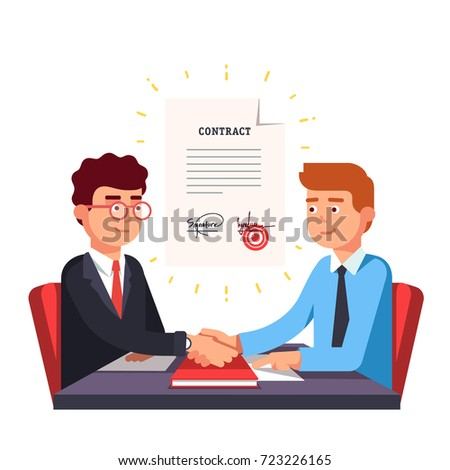 Business man partnership beginning. Partners firmly shaking hands after signing contract agreement closing deal. Modern flat style thin line vector illustration isolated on white background.