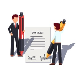 Business man people holding giant pens & signing large contract. Writing signature. Metaphor of starting new venture, making deal. Flat style vector illustration isolated on white background.