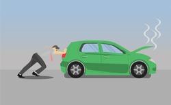 business man push car. a car broken streaming