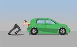 Business man pushing car.the car losing oil