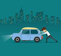 Business man pushing car, the car losing oil, at night on building background, vector illustration