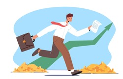 Business Man Race with Huge Rising Arrow Chart with Coins below on Trading Bull Market. Money Income Growth, Businessman Trader Character Investment, Stock Market Trading. Cartoon Vector Illustration
