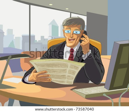 business man reading a newspaper office and said by mobile phone