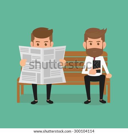 business man reading newspaper