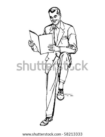 Business Man Reading - Retro Clip Art
