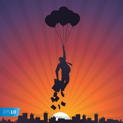 Business man relaxing and flying on balloons to the sky, vector Eps10 image