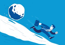 Business man run from a stone symbolizes problems such as debt crisis or taxes vector illustration, funny comic cute cartoon businessman worker or employee in a rush.