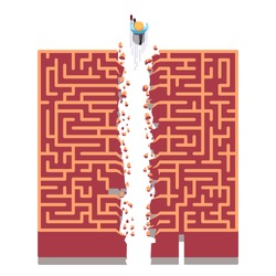 Business man running right through maze walls breaking new path. Overcoming difficulties & finding non-standard solutions metaphor. Modern flat style thin line vector illustration isolated on white.