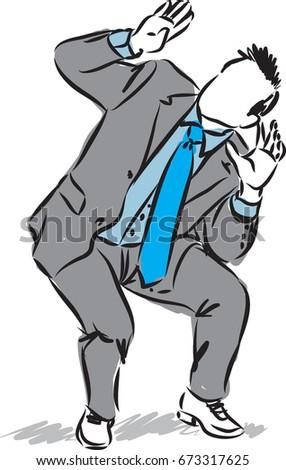 business man scared gesture vector illustration