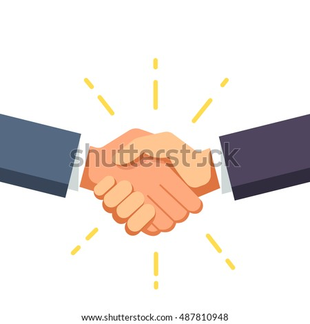 Business man shaking hands. Strong and firm handshake clap. Modern flat style vector illustration isolated on white background. Foto stock ©