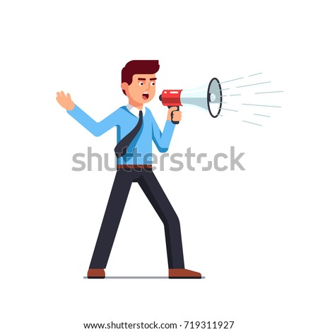 Business man shouting through loud speaker. Hailer energetic yelling. Businessman in shirt & tie with megaphone. Leadership speech. Flat style vector illustration isolated on white background.