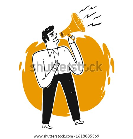Business man shouting through loud speaker. Hailer energetic yelling. Leadership speech. Vector illustration hand draw doodle style isolated on white background.