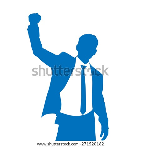 Business Man Silhouette Excited Hold Hands Up Raised Arms, Businessman Concept Winner Success Vector Illustration