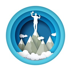 Business man silhouette with trophy award standing on mountain peak, vector illustration in paper art style. Business success, achievements, career growth, leadership.