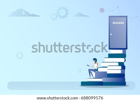 business man sit books stack