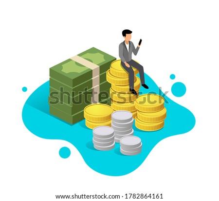 Business man sit down on money design on blue background, vector illustration
