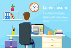 Business Man Sitting Desk Office Working Place Laptop Back Rear View Flat Vector Illustration