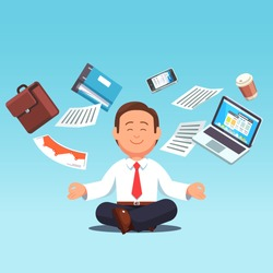 Business man sitting in padmasana lotus pose with flying around documents, phone, laptop flying around him. Office worker multitasking & meditating, relaxing doing yoga. Flat style vector illustration