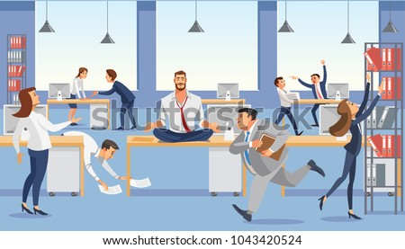 Business man sitting on table and ceep calp in meditation relax. Office workers stressing and hurry up with deadline. Fun cartoon characters. Vector illuctration of job situation in office interior.