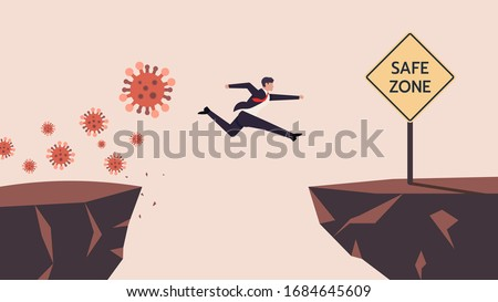 Business Man SMEs Runaway Covid-19, Coronavirus Crisis Jumping  Through The Gap Obstacles of Cliff Edge to Safe zone. Meaning is Survive or Handle or Control His Business or Company or Finance. Vector Stockfoto ©