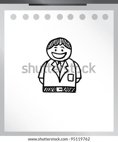 business man smile cartoon doodle