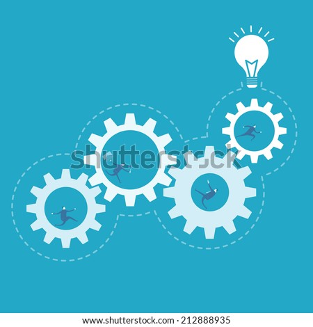 Business man spin the gear, process improvement