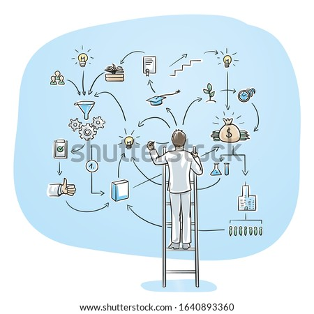 Business man standing on a ladder and sketching flow chart of developing a company or launching product. Hand drawn cartoon sketch vector illustration, whiteboard marker style coloring