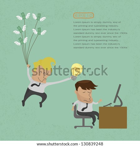 Business man stealing idea , eps10 vector format