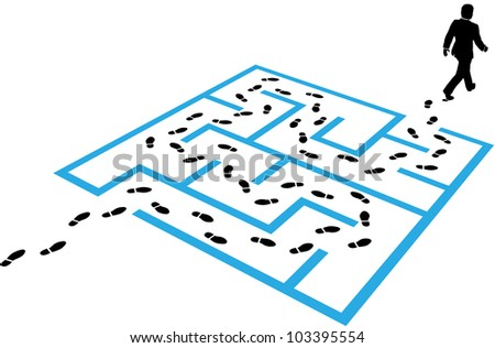 Business man steps footprints find a path through a maze puzzle to a solution
