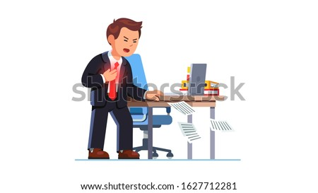 Business man suffering sudden heart attack at workplace holding chest in pain standing next to work office desk. Cardiac arrest stroke ache. Heart failure shock. Flat vector character illustration