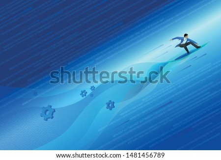 Business man Surfing the waves in Digital Transformation. Digital Transformation concept.