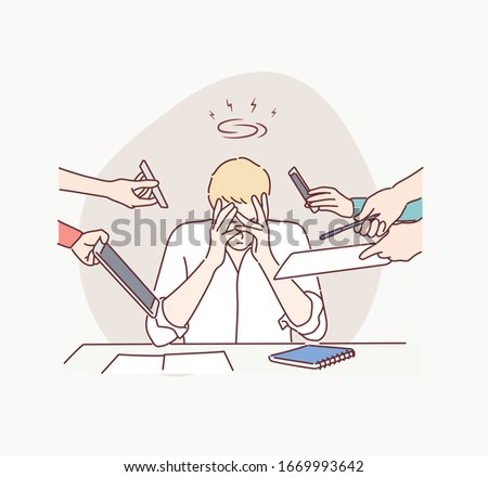 Business Man Surrounded by Hands with Office Things. Multitasking and Time Management Concept. Hand drawn style vector design illustrations.