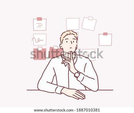 Business man surrounded by stickers thinking about his to-do list. Hand drawn style vector design illustrations.
