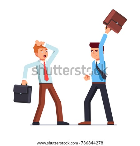 Business man swinging his briefcase threatening to hit the other one blocking. Corporate clerks wearing ties having argument. Office worker afraid of duel fight attack. Flat style vector illustration.
