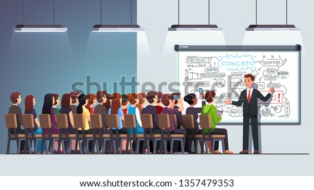Business man teacher coach delivering lecture speech about product development at conference to a sitting audience group crowd in a classroom using whiteboard. Flat vector character illustration