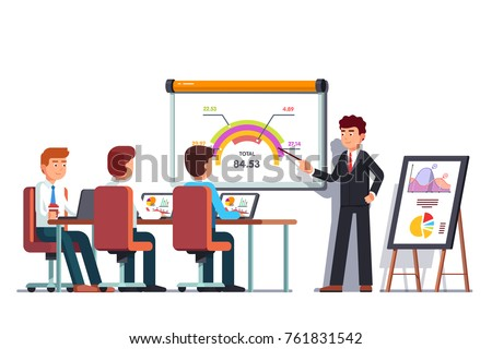 Business man teacher giving employee people lecture or presentation at board room. Boss showing diagram pointing at whiteboard. Conference hall, flipchart, projector screen. Flat vector illustration.