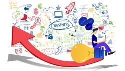 Business Man think analyze creative work,flat design illustration Creativity modern Idea and Concept Vector.