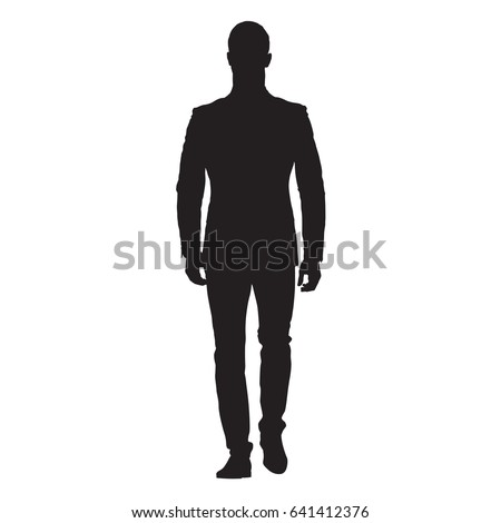 Business man walking forward, front view of adult man in suit, isolated vector silhouette