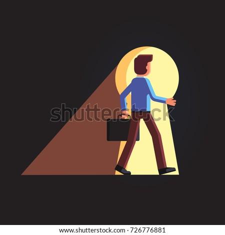 business man walking through