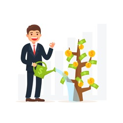 Business man watering money tree. Business growth concept. Cute illustration cartoon style.