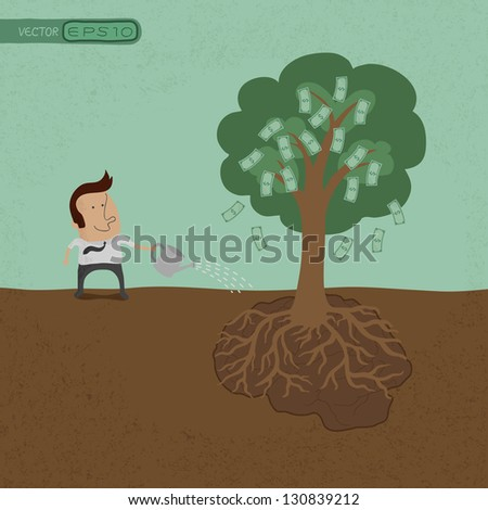 Business man watering money tree  , eps10 vector format