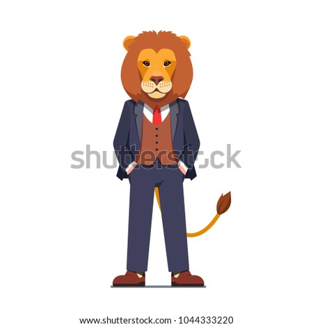 business man with a lion animal