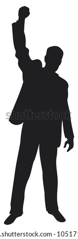 business man with arms up celebrating (successful businessman, happy businessman, business man silhouette with his arms up enjoying his success)