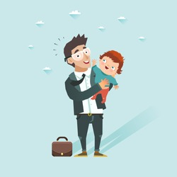 Business man with baby. Happy guy in suit taking son. Father came back home after work and take children at hands. Vector illustration in flat style.