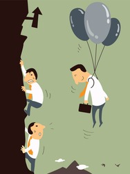 Business man with balloon floating in the air, representing to get better opportunity or chance to be successful than business men who climbing up the mountain. Business concept.
