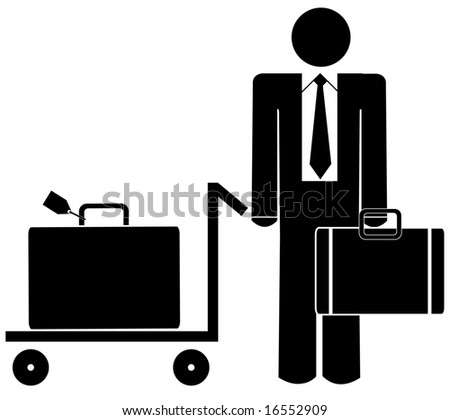 business man with briefcase and luggage on trolley