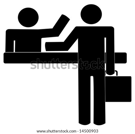 business man with briefcase getting help and counter