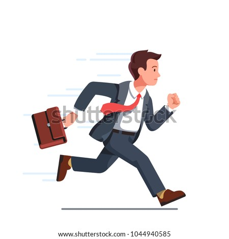 Business man with briefcase running fast with waving necktie. Late business person rushing in a hurry to get on time. Flat style vector character illustration isolated on white
